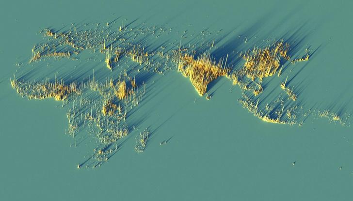Фото №1 - Красивые трехмерные карты мира, показывающие распределение населения Земли