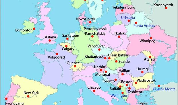 Фото №1 - Загадка дня: По какому принципу нанесены эти города на карту Европы?