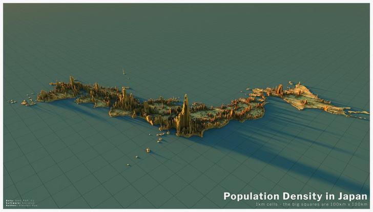 Фото №14 - Красивые трехмерные карты мира, показывающие распределение населения Земли