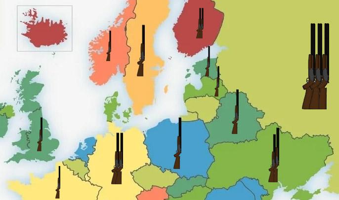 Фото №1 - Карта: число единиц огнестрельного оружия на 100 человек в Европе и России