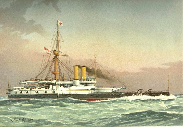 Английский броненосец «Виктория». Литография Уильяма Митчелла, созданная между 1885 и 1893 годами