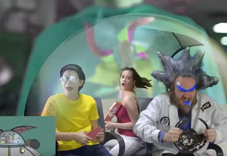 Фото №1 - Телеканал «2х2» снял бюджетную версию заставки из «Рика и Морти» с живыми людьми и летающей тарелкой (видео)