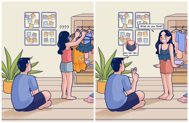 Фото №1 - Пользователь исправил чужой комикс про девушку, выбирающую, что надеть, и заслужил одобрение Интернета