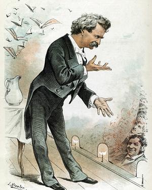 Карикатура наТвена, читающего лекции, 1890-е