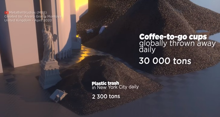 Фото №1 - Наглядное сравнение объемов всего пластика в мире с Нью-Йорком (тревожное видео)