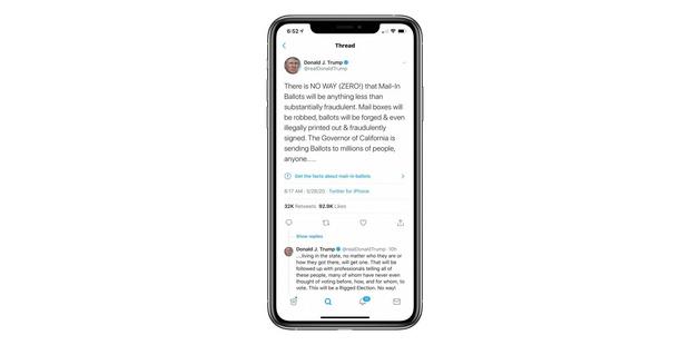 Фото №1 - Twitter впервые пометил твит Дональда Трампа как fake news
