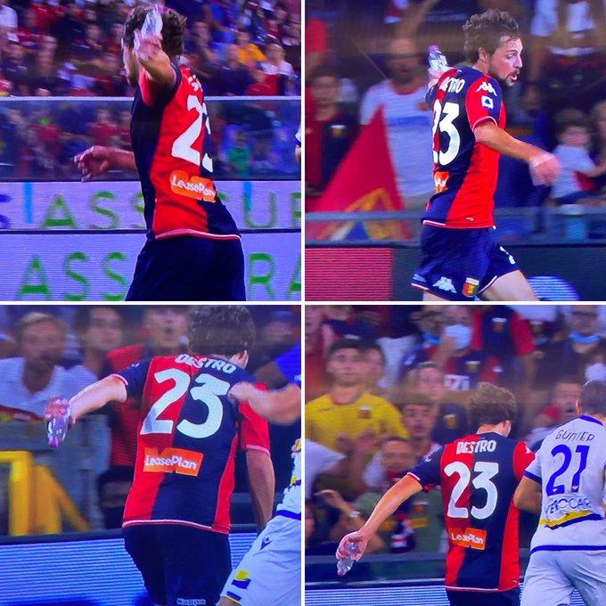 Фото №1 - Футболист «Дженоа» Маттиа Дестро забил гол с бутылкой в руке— видео