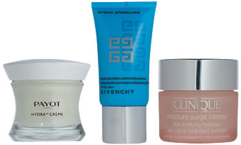 Hydra 24, PAYOT; Hydra Sparkling, GIVENCHY; Moisture Surge Intense, CLINIQUE.