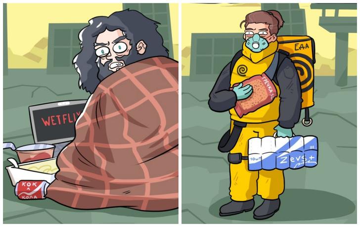 Фото №1 - 5 типов людей, которые выживут после коронавируса: комикс от российского иллюстратора