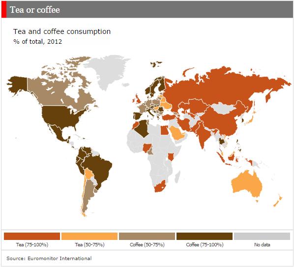 Фото №2 - Карта: что предпочитают в разных странах мира, чай или кофе?