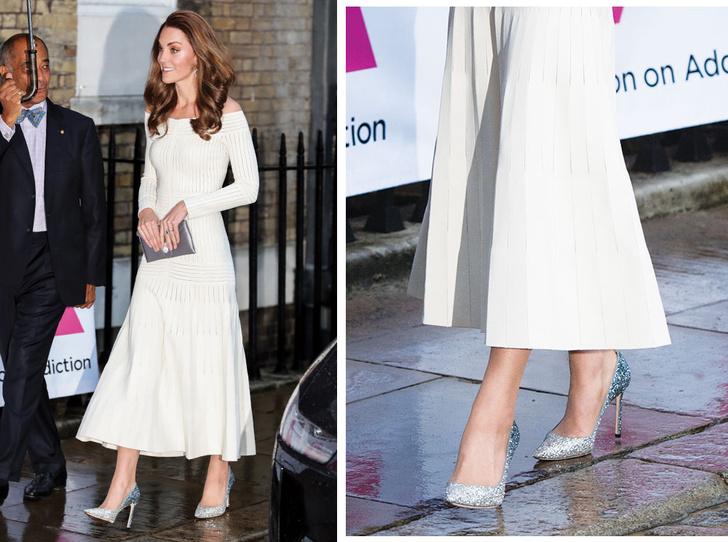 Фото №1 - 10 блестящих пар обуви, как у герцогини Кейт на гала-ужине