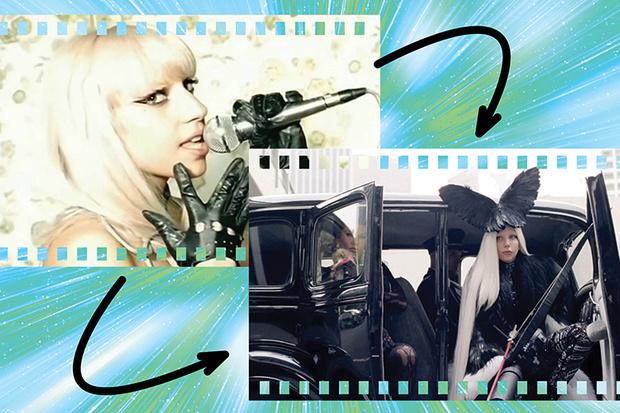 Леди Гага в клипах Just Dance и G.U.Y.