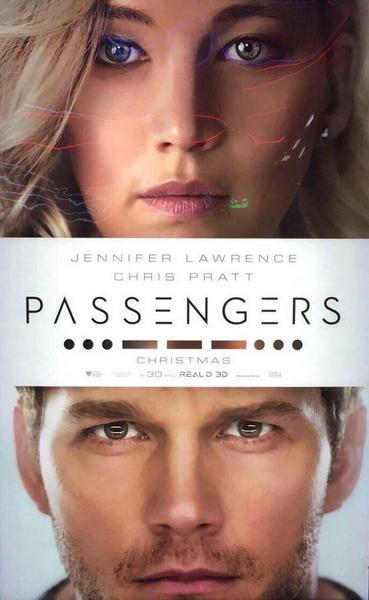 Постер к «Пассажирам» с Лоуренс и Прэттом