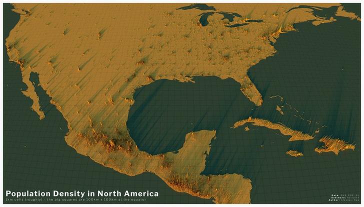 Фото №5 - Красивые трехмерные карты мира, показывающие распределение населения Земли