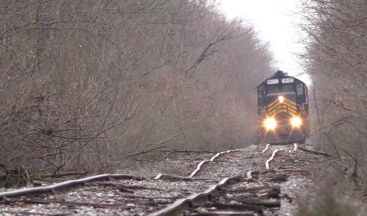 Фото №1 - Видео с поездом, который едет по заброшенным на 50 лет рельсам, снова стало вирусным