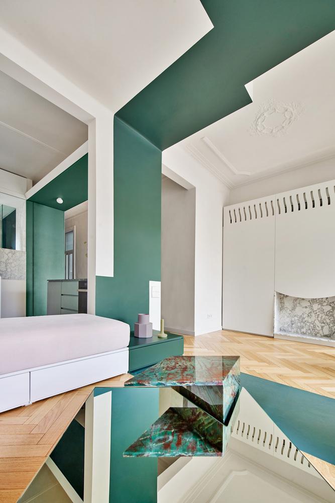 Фото №11 - Квартира с зеленой перегородкой в Барселоне