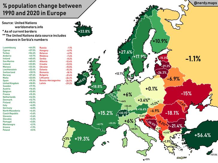Фото №1 - Карта: как изменилось количество жителей стран Европы за последние 30 лет