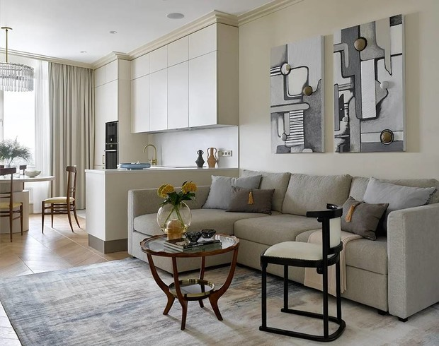 Фото №2 - Элегантный монохромный интерьер квартиры 85 м²