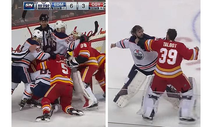 Фото №1 - Видео массовой драки в НХЛ с рукопашной вратарей набрало 1,5 миллиона просмотров