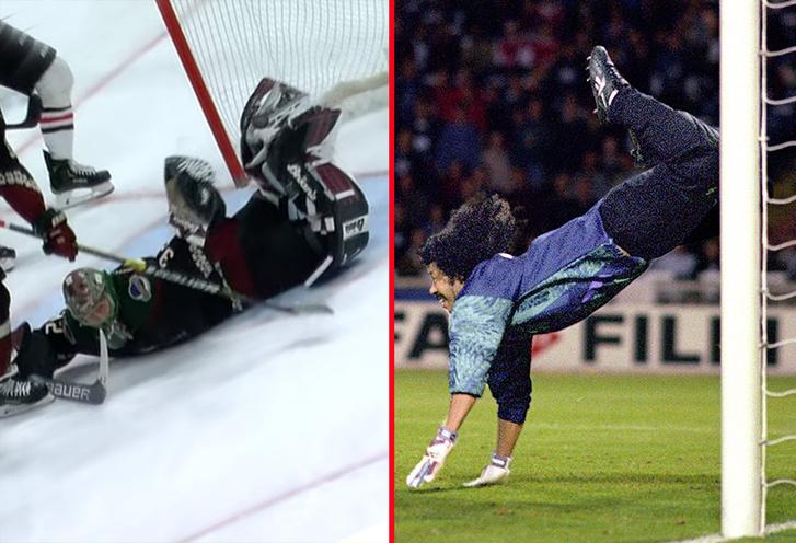 Фото №1 - Хоккейный вратарь отбил шайбу «ударом скорпиона» (видео)