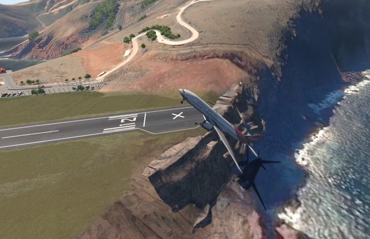 Фото №1 - Парень воспроизвел посадки больших самолетов на самую короткую в мире полосу с помощью симулятора полетов (видео)