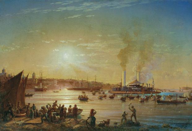 """Николай Красовский, «Прибытие """"Новгорода"""" в Севастополь», 1873 год"""