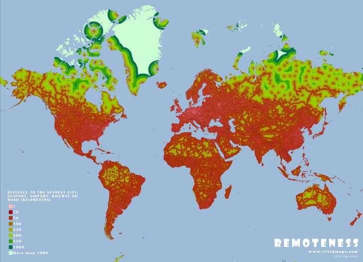 Фото №1 - Карта: самые удаленные от человека участки на Земле
