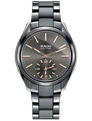 Часы с сенсорной технологией ифункцией второго часового пояса Rado HyperChome Touch Dual Timer, серая high-tech керамика.