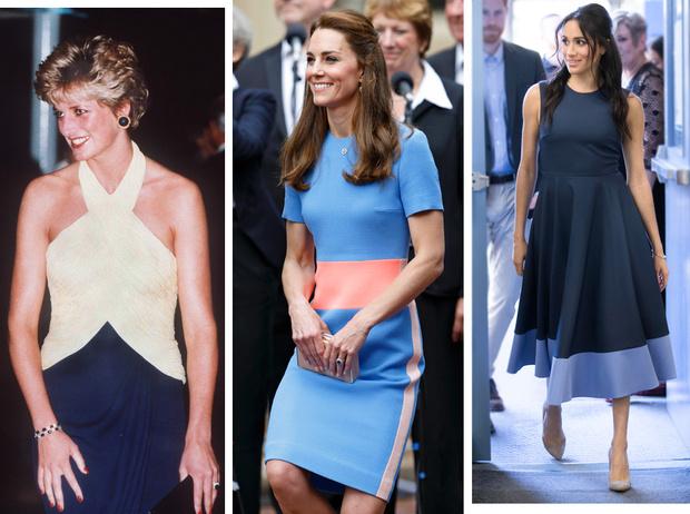 Фото №1 - Королевский тренд: платья в стиле color-blocking от первых британских модниц