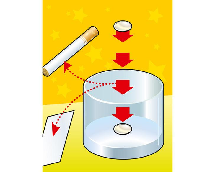 Фото №1 - Фокус с монеткой, визиткой и бокалом