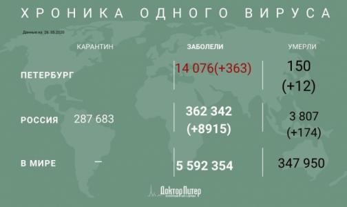 Фото №1 - За последние сутки коронавирус выявили у 363 петербуржцев