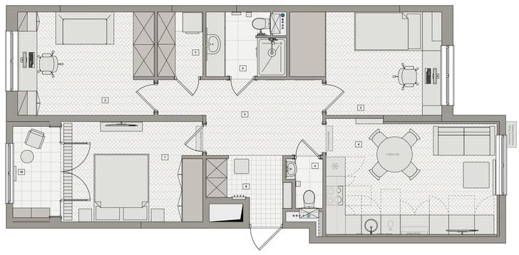 Фото №14 - Трехкомнатная квартира в оттенках синего цвета