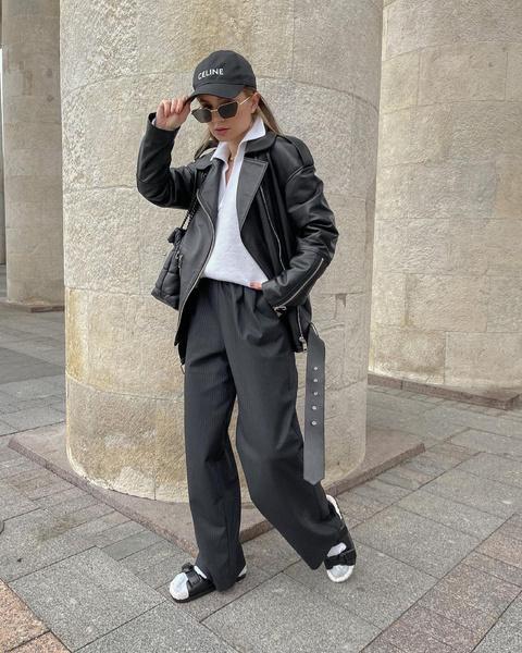 Кожаная куртка, косуха 2021, с чем носить кожаную куртку, купить косуху, образы с косухой