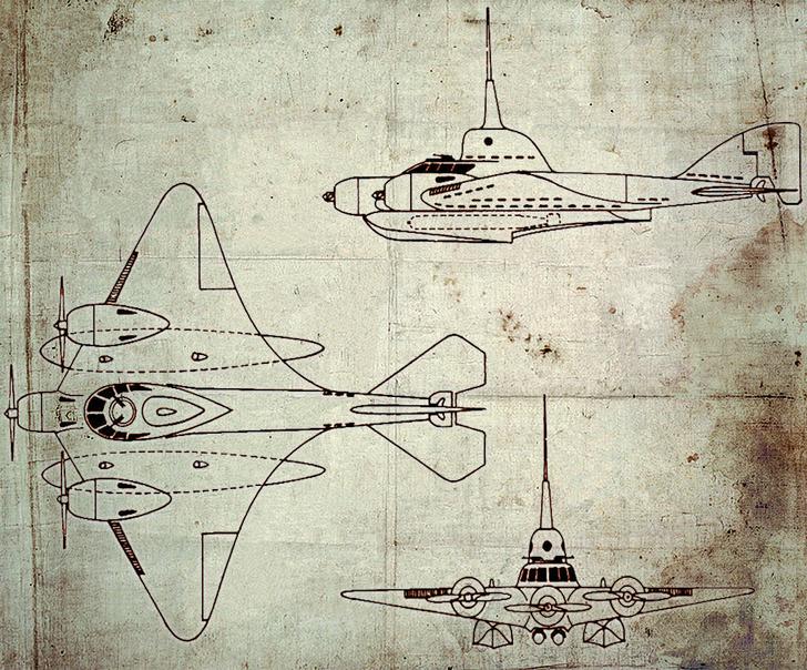 ЛПЛ-1 (летающая подводная лодка). Проект советского воентехника Ушакова, 1938 год