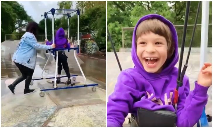 Фото №1 - Мама помогает сыну с ДЦП первый раз прокатиться на скейтборде (видео)