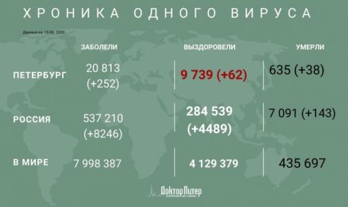Фото №1 - За сутки коронавирус выявили у 252 петербуржцев