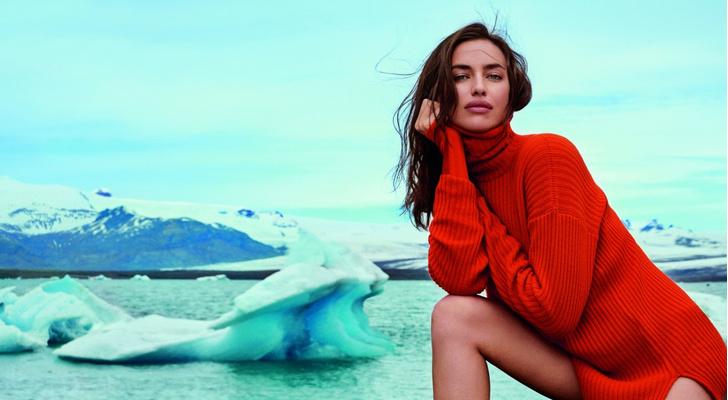 Фото №3 - Лед и пламень: Ирина Шейк позирует на фоне ледников Исландии в рекламной кампании Falconeri