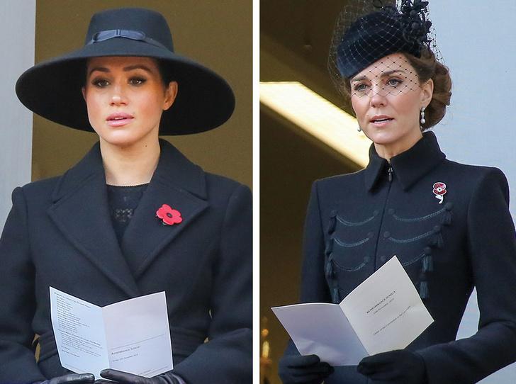 Фото №1 - Почему герцогини Меган и Кейт оказались на разных балконах в День памяти