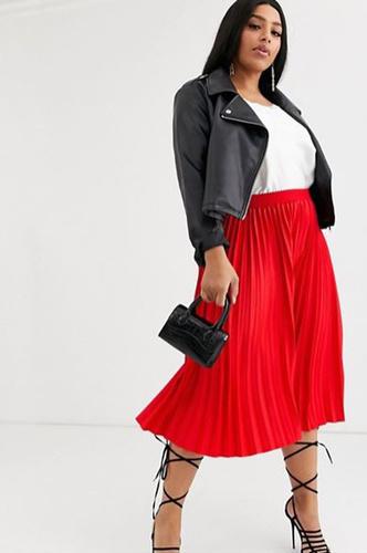 Красная плиссированная юбка миди с контрастным, ASOS, 2990 руб.