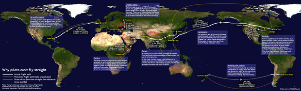Фото №2 - Карта, объясняющая, почему самолеты не летают прямо