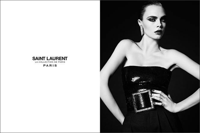 Фото №2 - Кара Делевинь в кампании Saint Laurent