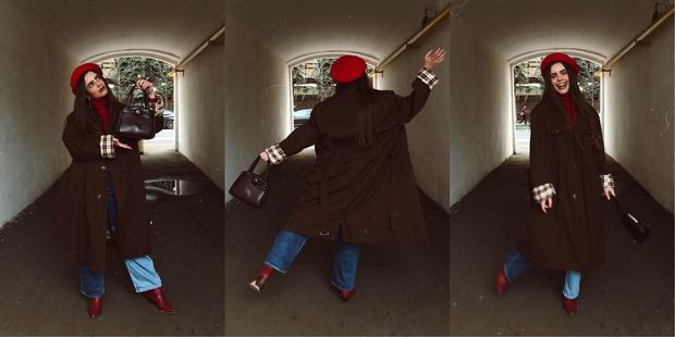 Тренч: винтаж, водолазка: Incity, джинсы: Monki, берет: Monki, клатч: винтаж, казаки: Zara, ремень: lamoda.ru