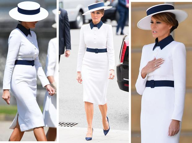 Фото №1 - 10 платьев для офиса, как у Мелании Трамп на встрече с королевской семьей
