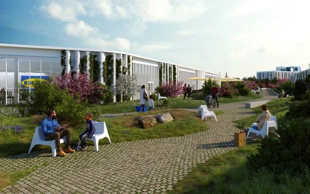 Фото №2 - Магазин ИКЕА с зеленой крышей в Копенгагене