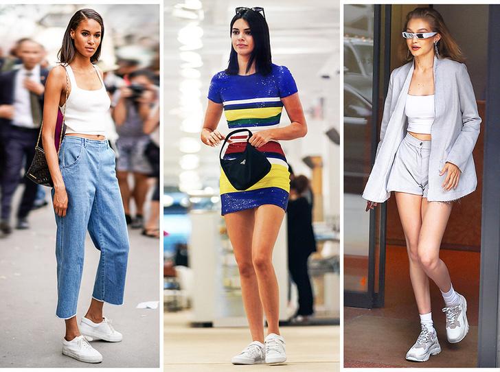 Фото №1 - 10 пар белых кроссовок, как у Джиджи Хадид, Кендалл Дженнер и других звездных моделей