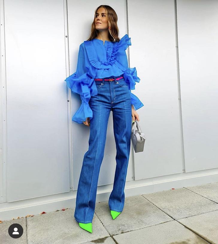 Фото №1 - С чем носить блузку H&M цвета электрик: показывает блогер из Норвегии