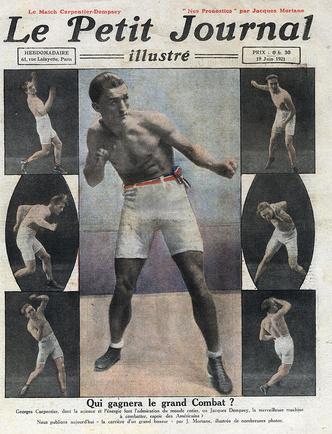 Портреты Карпантье на передовице французской газеты Le Petit Journal в июне 1921-го. На иллюстрациях боксер готовится к «матчу века»