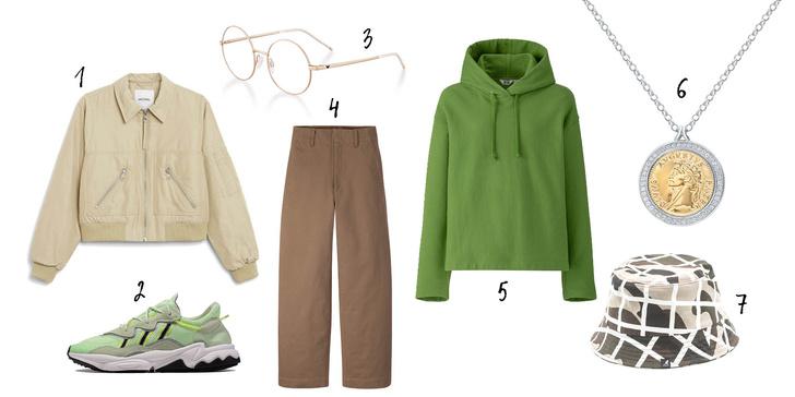 1. Monki, 2. Street-beat, 3. Emporio Armani Eyewear, 4, 5. Uniqlo, 6. Sunglight, 7. Kangol