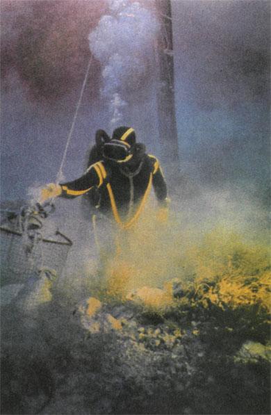 Крупные находки подводники складывают в корзину, а затем лебедка поднимает добычу на борт «Калипсо».