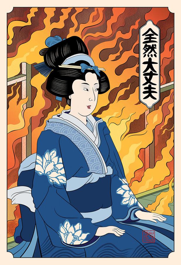 Фото №9 - 11 популярных мемов, нарисованных в стиле японских гравюр